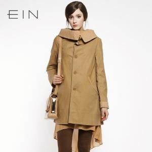 EIN言秋款风衣外套2色入舒适独特翻领女装新款风衣_www.nvshen9.com