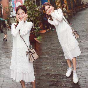 2016秋装新款女装韩版小清新直筒白色长袖中长款蕾丝连衣裙打底裙_www.nvshen9.com