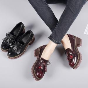 秋季新款单鞋厚底粗跟防水台黑色高跟鞋流苏英伦风女鞋学院小皮鞋_www.nvshen9.com