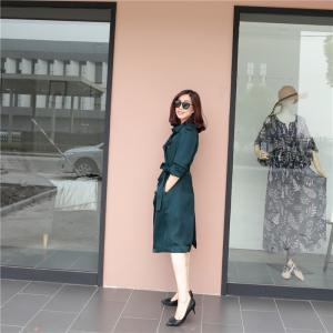 MAS玛氏服饰 16早秋款 英伦风双排扣经典真丝风衣 百搭 通勤_www.nvshen9.com