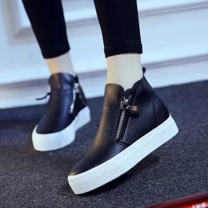 内增高女鞋秋2016新款黑色皮鞋高帮坡跟厚底松糕鞋侧拉链懒人鞋潮_www.nvshen9.com